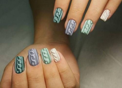 модный вязаный маникюр 2019 2020 вязаный дизайн ногтей маникюр