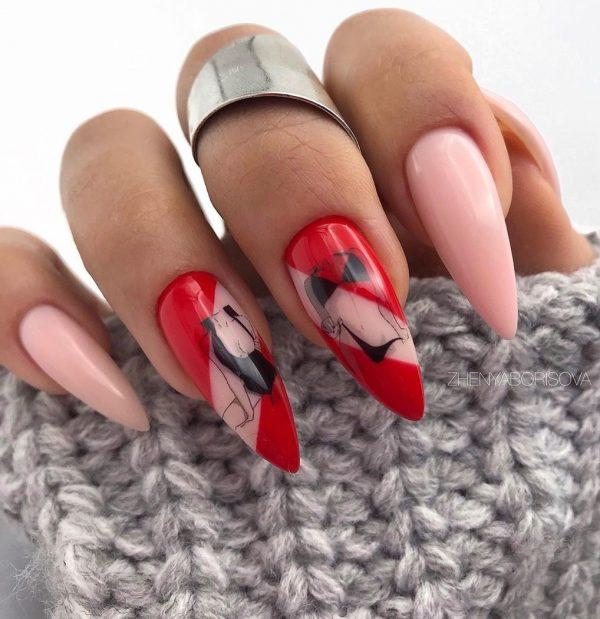 Шикарные красные ногти 2021-2022: лучшие новинки в дизайне красного маникюра