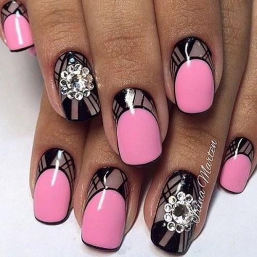 Дизайн ногтей стразами и блестками фото